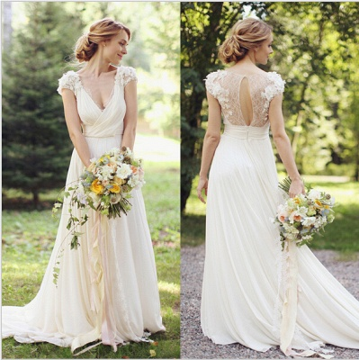 Modern V-neck Chiffon Flowers Wedding Dress 2020 Sweep Train_3