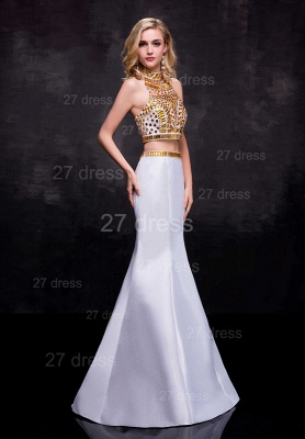 Gorgeous Two Piece Crystals Wedding Dress Sweep Train_2
