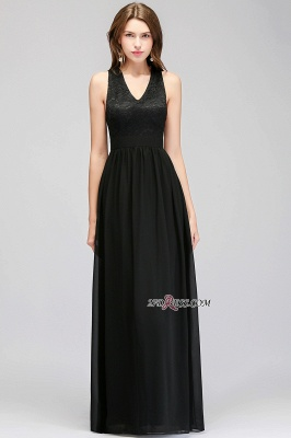 V-Neck Chiffon Crisscross A-line Black Lace Evening Dress_5