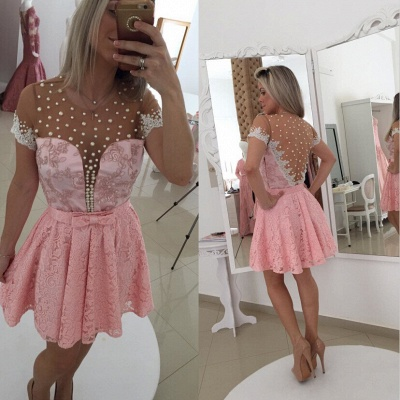 Sexy Short Sleeve Pink Cocktail Dress 2020 Lace Pearls BT0_2