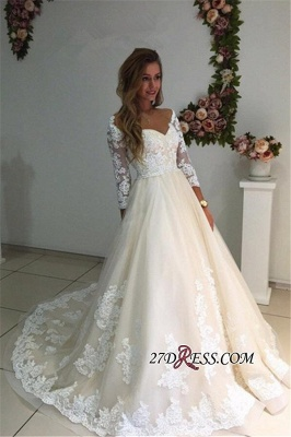 Backless Appliques Lace Long A-Line Sleeves Ivory Tulle Wedding Dresses_1