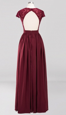 2020 Stunning Burgundy Cap Sleeves V Neck Prom Dress | Floor-Length Lace Long Evening Gown_2