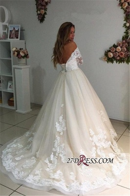 Backless Appliques Lace Long A-Line Sleeves Ivory Tulle Wedding Dresses_2