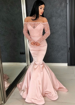 Glamorous Long Sleeve Lace Evening Dresses   2020 Mermaid Prom Gowns On Sale BC0324_1