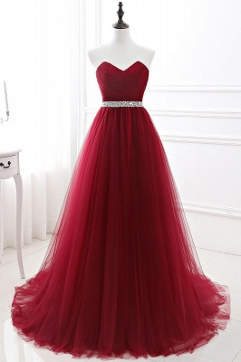 Elegant Burgundy Tulle Evening Dresses | 2020 Long Crystal Prom Gowns_8