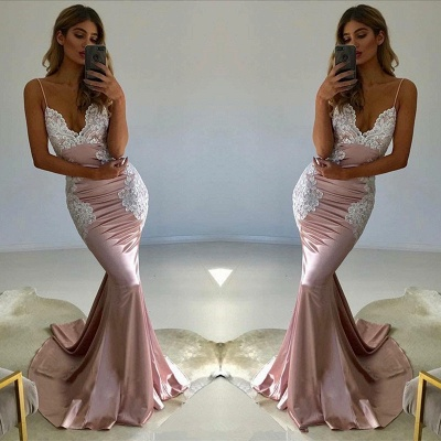 Spaghetti-Straps Lace Prom Dress | 2020 V-Neck Evening Party Gowns_3