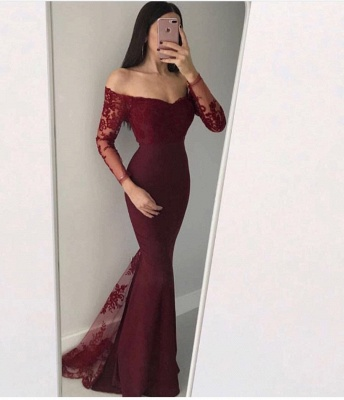 Chic Long Sleeve 2020 Evening Dress | Mermaid Lace Formal Dress BC0594_3