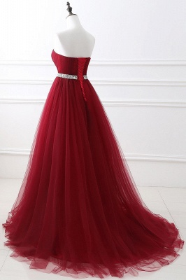 Elegant Burgundy Tulle Evening Dresses | 2020 Long Crystal Prom Gowns_10