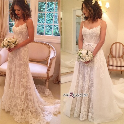 Backless Sexy Sheath Spaghetti-Straps Appliques Wedding Dresses_1