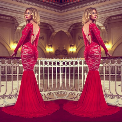 Sexy Red Long Sleeve Lace 2020 Prom Dresses Mermaid Long_4