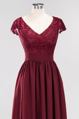 2020 Stunning Burgundy Cap Sleeves V Neck Prom Dress | Floor-Length Lace Long Evening Gown_4
