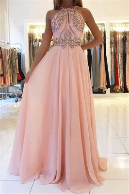 Pink Halter Long Prom Dress | 2020 Chiffon Evening Dress With Crystal_1