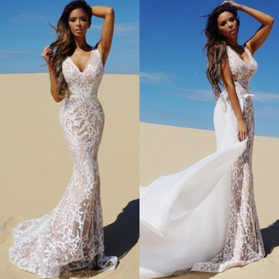 Charming V-Neck Sleeveless Prom Dress | Long Mermaid Evening Gowns With Detached Train _4
