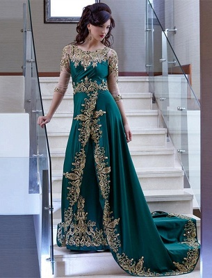 Gorgeous Half Sleeve 2020 Evening Dress Lace Appliques Online_2