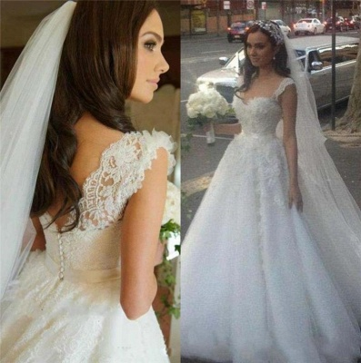 Delicate Lace Appliques Tulle 2020 Wedding Dress Button Zipper Back Straps Sleeveless_3
