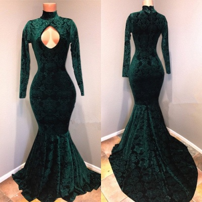 Green lace prom dress, 2020 mermaid evening gowns_2