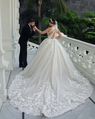 Halter Lace Appliques Ball Gown Wedding Dresses Gorgeous Sleeveless Bridal Dresses_5