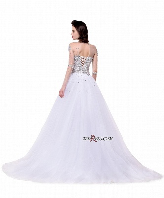 2020 Long-Sleeves Crystal Glamorous Lace-Up Tulle Wedding Dress_4