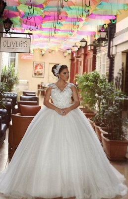 Delicate Tulle Lace Flowers 2020 Wedding Dress Ball Gown Cap Sleeve Plus Size_1