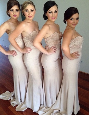Elegant Sweetheart Beadings Bridesmaid Dress 2020 Long Mermaid_1