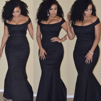 Sexy Black Mermaid 2020 Prom Dress Plus Size Off-the-shoulder BA3784_3