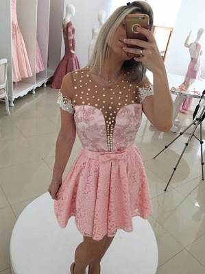 Sexy Short Sleeve Pink Cocktail Dress 2020 Lace Pearls BT0_1