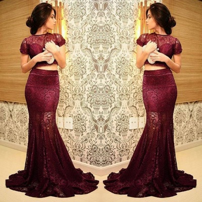 Sexy Mermaid Two Piece Lace Prom Dress 2020 Short Sleeve_2