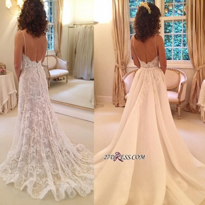 Backless Sexy Sheath Spaghetti-Straps Appliques Wedding Dresses_2