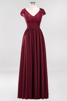 2020 Stunning Burgundy Cap Sleeves V Neck Prom Dress | Floor-Length Lace Long Evening Gown_1