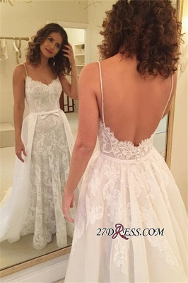 Backless Sexy Sheath Spaghetti-Straps Appliques Wedding Dresses_3