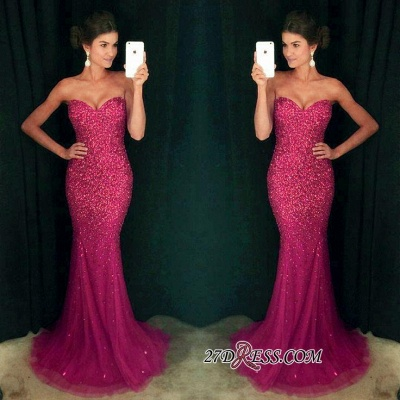 Long Sparkly Sequins Mermaid Crystals Cheap Sweetheart Prom Dress_1
