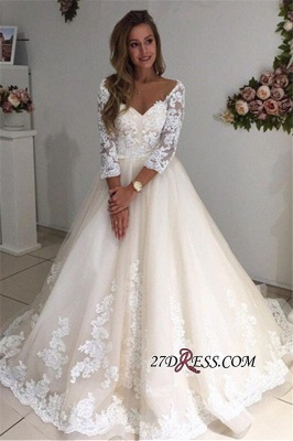 Backless Appliques Lace Long A-Line Sleeves Ivory Tulle Wedding Dresses_3