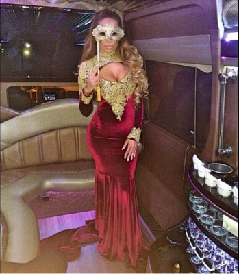 Stunning Long Sleeve Golden Appliques Evening Dresses 2020 Mermaid With Train_6