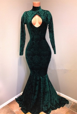 Green lace prom dress, 2020 mermaid evening gowns_1