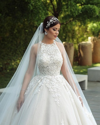 Halter Lace Appliques Ball Gown Wedding Dresses Gorgeous Sleeveless Bridal Dresses_3