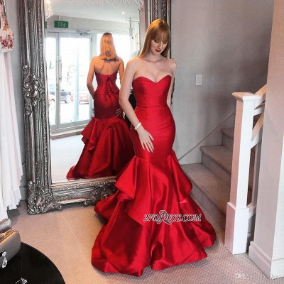 Lace-up Sweep-trian Red Sweetheart Mermaid Tired Evening Dress_1