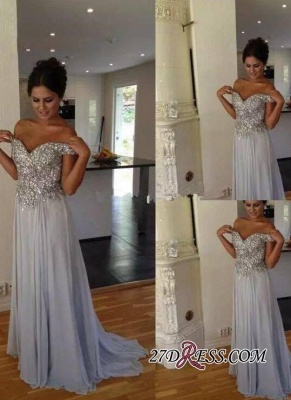 Off-the-Shoulder A-line Chiffon Long Crystals Silver Prom Dresses_2