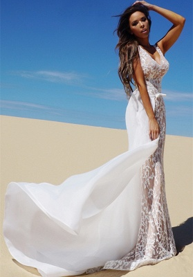 Charming V-Neck Sleeveless Prom Dress | Long Mermaid Evening Gowns With Detached Train _2