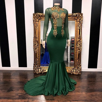 Gorgeous Green Long Sleeves High-Neck Prom Dress | 2020 Mermaid Evening Gowns With Appliques BC1850_2