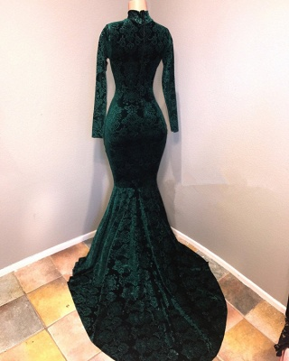 Green lace prom dress, 2020 mermaid evening gowns_3