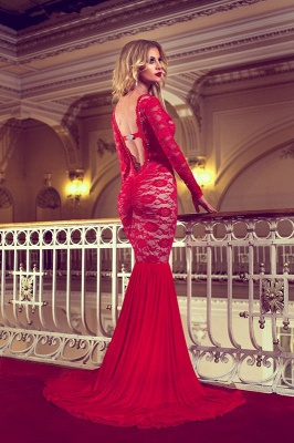 Sexy Red Long Sleeve Lace 2020 Prom Dresses Mermaid Long_3