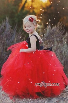 Lovely Black and Red Tulle 2020 Flower Girl Dress