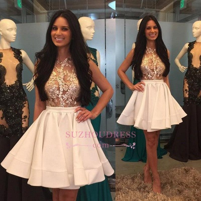 Mini Appliques High-Neck Lace Sheer Puffy-Skirt Pretty Homecoming Dresses_1