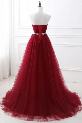 Elegant Burgundy Tulle Evening Dresses | 2020 Long Crystal Prom Gowns_9