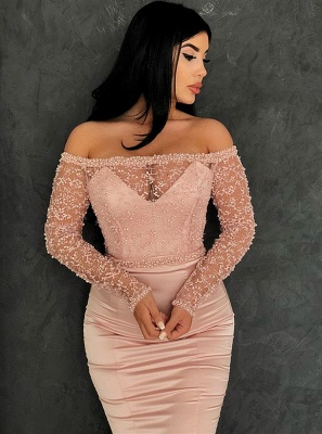 Glamorous Long Sleeve Lace Evening Dresses   2020 Mermaid Prom Gowns On Sale BC0324_2