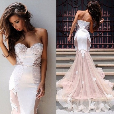 Sweetheart Lace Evening Dress with Mermaid Tulle Gorgeous_4