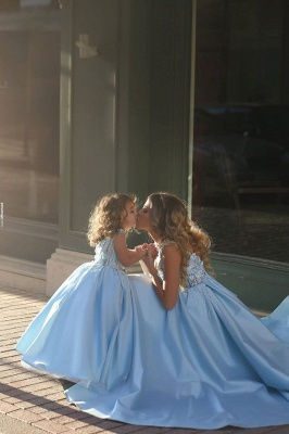 Newest Flowers Straps A-line Mother And Daughter Prom Dress 2020 Ball Gown BA4321_4