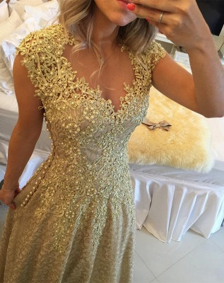 Glamorous Cap Sleeve Lace Appliques 2020 Prom Dresses Floor Length Formal Wear_3