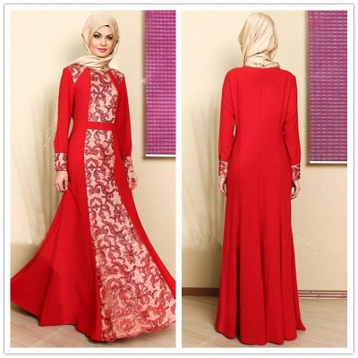 Elegant Long Sleeve Red Prom Dress With Appliques_3