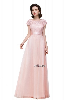 Bowknot Lace Open-Back A-Line Short-Sleeves Elegant Evening Dress_6